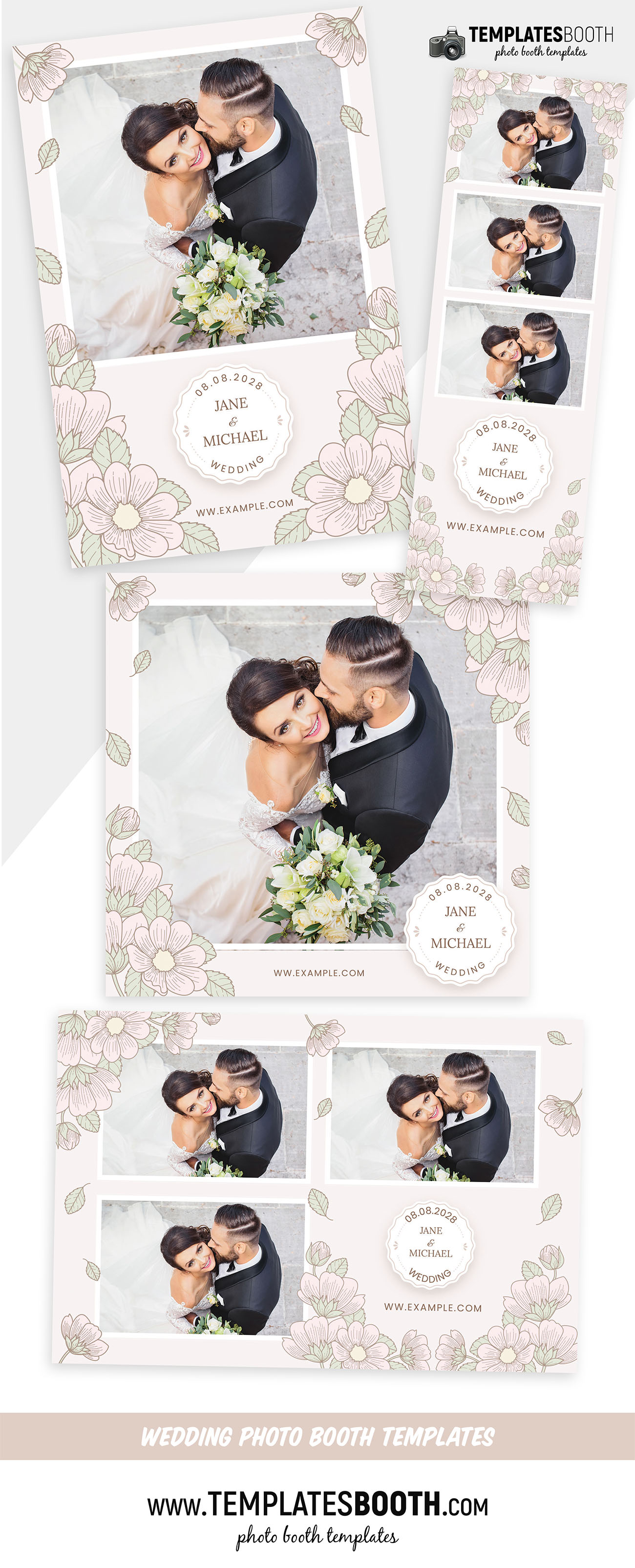 Wedding Flowers Photo Booth Template (PSD, PNG, DSLR Booth)